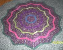 """I'M LOOKING FOR A NEW HOME. CAN I COME AND LIVE WITH YOU???  This beauty was lovingly hand-crafted and crocheted in a pet-free, smoke-free environment. It is appx. 51"""" round. The colors, as described by Red Heart Yarn, are: Artist Print verigated,..."""