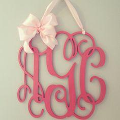 Pink wooden monogram//nursery decor