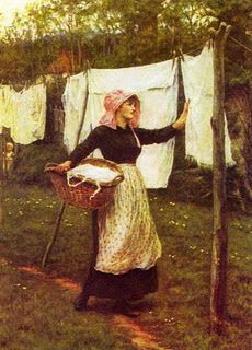 Washing Line   by Helen Allingham