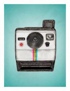 Polaroid Memories - vintage camera illustration