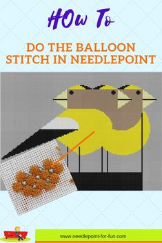 Gregarious Grosbeaks by Charley Harper with a new stitch suggestion for your handpainted needlepoint canvas.