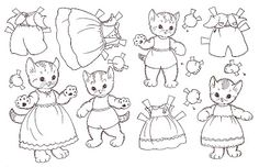 cats, embroidery patterns, cat paper, paper dolls, catdog color, kittens, printabl, kid craft, embroidery designs