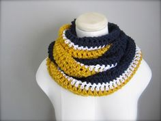 Crochet Blue, White, and Gold NHL, NFL Hockey College Football, Soccer, Sports Team Colors Infinity Scarf, Men's Scarf, Unisex Scarf on Etsy, $20.00