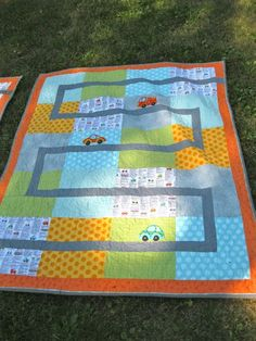 Awesome Idea for a little boy quilt by How to be Jenna!  :)  Great for a floor mat and matchbox cars !