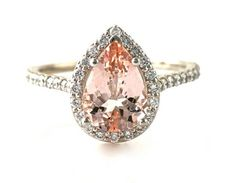 14K Morganite Engagement Ring Diamond Halo Pear by