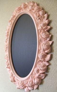 GIRLS ROOM NURSERY Decor-Roses Mirror-2 in 1 Ornate Vintage Frame Chalkboard