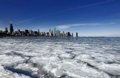 Ice floats on Lake Michigan on the Chicago waterfront, seen here from the Adler Planetarium.