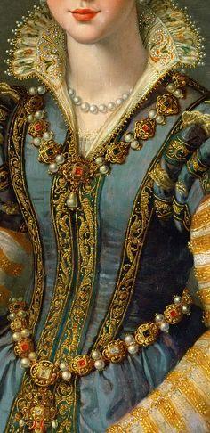 Portrait of Maria de' Medici (1540-1557) or Eleonora di Garzia di Toledo (1553–1576), Alessandro Allori, detail