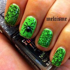 Green Spider Web Nails using hairspray!