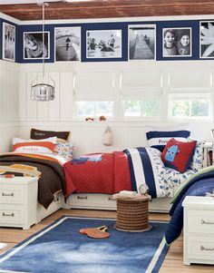 Love the blue above the white paneling for photos!! Super cute idea! (Benjamin Moore Bold Blue)