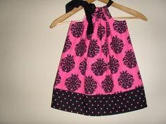 Image of Hot pink and black damask  polka dots pillowcase dress(xsmall, small and medium)FREE domestic shippi