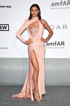 Supermodel Irina Shayk in Atelier Versace with Swarovski crystals at the amfAR Gala 2014 in Cannes