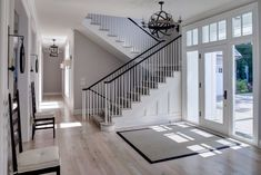 classic black and white beach house entryway