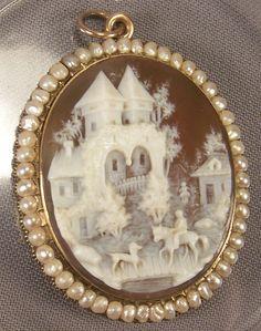 Wonderful old Victorian 18k Seed Pearl Cameo ca. 1870.