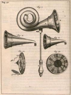 Drawings of Hearing Trumpets [term Ear Trumpet used from ca.1776 OED]