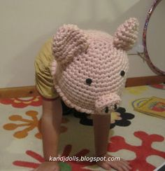 Free Piggy Hat Crochet Pattern ~ Amigurumi crochet patterns ~ K and J Dolls / K and J Publishing