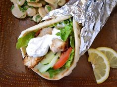 Chicken Shawarma...best chicken marinade ever. Greek Yogurt, herbs, cucumber, tomato, red onion...delicious and healthy.