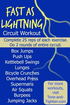 Fast as Lightning Total Body Circuit Workout from Tone-and-Tighten.com - perfect to do at home!