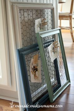 Great for notes or cards, chicken wire on a frame
