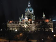 Night view of the Rathaus in Hannover, Germany