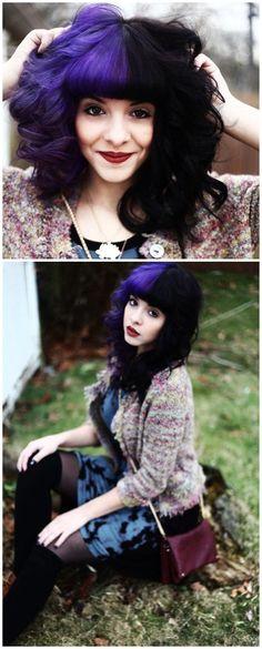 hair, hair color, black hair, black, purple hair, purple, multi-colored hair