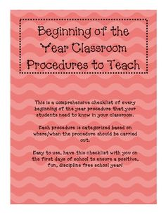 This is a comprehensive 7 page document that lists and categorizes every single procedure/routine to teach in your classroom. This takes all of the guess work out of your beginning of the year management plan.