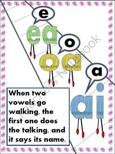 When two vowels go walking--sign from Notveryfancy on TeachersNotebook.com -  (2 pages)  - This is a sign to help students decode words with vowel teams.