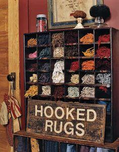 hook rug, storage area, hooks, rughook, cabinet, cubbies, storage ideas, yarn storage, rug hooking