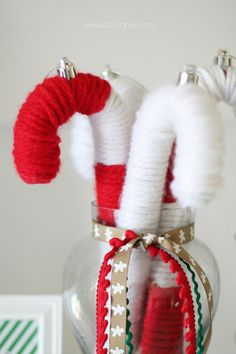 Yarn wrapped candy canes