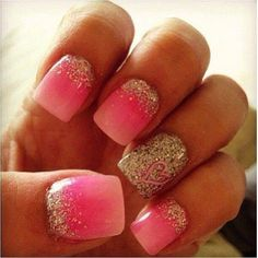 Pink With Glitter Valentine Nails