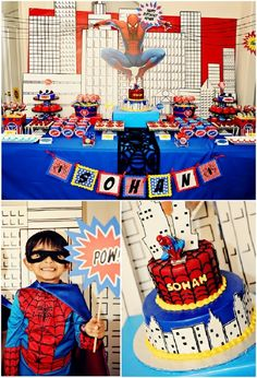 Spiderman Inspired Birthday Party. #spiderman #hero #birthday #party #partyideas #festas