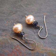 Iolite and Pearl Earrings. via Etsy.