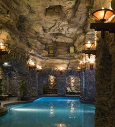 Grove Park Inn Ashville NC-The Grotto Spa.  Complete with hot tubs with water falls, a cool pool, hot pool and warm.  All with piped in music under water.  Best spa I've visited.