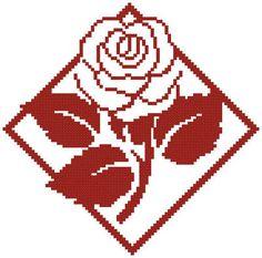 Red Rose cross stitch pattern.