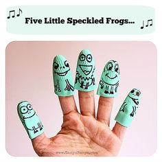 Five little speckled frogs finger puppets made from a rubber washing up glove washing up glove puppet, frog finger, speckl frog, glove finger puppets, toddler, preschool, rubber glove puppets, five little speckled frogs