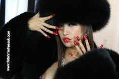 Long Red Nails and Fur's...  www.fetishmistressuk.com red nails, fav fur, fur fetish, fur fav