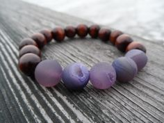 Purple Druzy Chestnut Wood #Bracelet