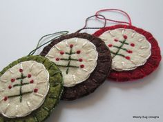 Folk Art Tree Wool Felt Ornaments Set of 3 by WoollyBugDesigns, $15.00
