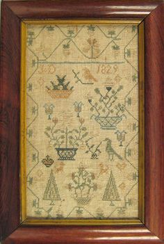 Silk on linen sampler dated 1829 linen sampler