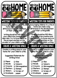 great writing tip sheet for parents... send home at the beginning of the year
