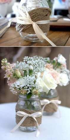 DIY mason jars  (like the jar twine idea but hate the bow & flowers don't go with that style jar... but like the jar...) outdoor wedding centerpiece, color, wedding ideas, country weddings, mason jar centerpieces, mason jars, wedding centerpieces, flower, bridal showers