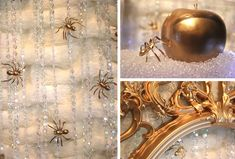 Arañas doradas para una elegante decoración de Halloween / Gold spiders for an elegant Halloween decoration