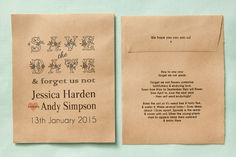 Unusual Save the Date idea - Seed Packet - Wedding in a Teacup