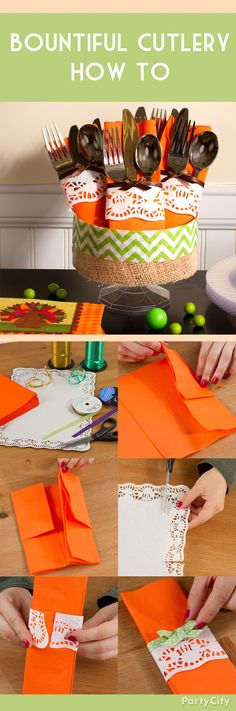 "Check out this awesome napkin folding idea: a cutlery pocket with ""lace""! Step-by-step pictures make it easy -- click the pic for instructions."
