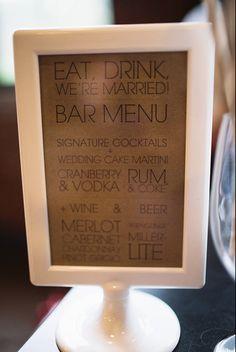 our wedding // patfureyblog.com    wedding bar menu
