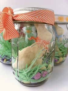 Cute Easter Gift Idea!   Put some Haribo or Trolli sour apple spaghettini gummies as grass in the bottom of a mason jar. Add a few Easter M, & a Chocolate Bunny. Put the lid on & cute ribbon on the lid, & wallah! Great gift for kids.