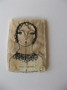 mixed media embroidery brooch by cathycullis