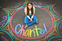 Chalk circle and name. Sr. Portrait