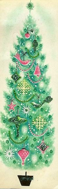 Green tree    Clipping from an old Christmas card found in a 50's-60's era scrapbook- craft; for tree, cut out and glitter either in specific spots or the clear glass glitter all over.