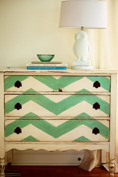 Flickr Find - Amazing vintage chest painted in green chevron pattern.